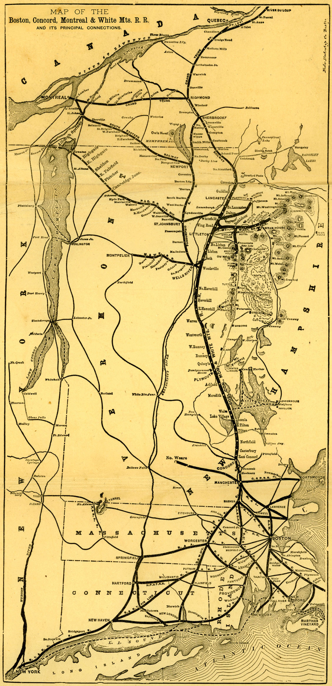 comparing an earlier 1878 system map shown below to the 1880 1882 map above one notices several differences in new hampshire