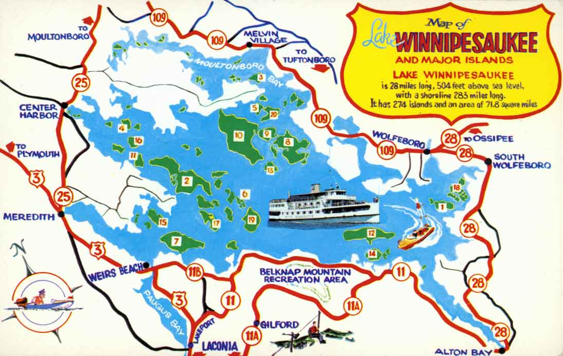 OLD POSTCARD MAP OF LAKE WINNIPESAUKEE AREA AND MAJOR ISLANDS
